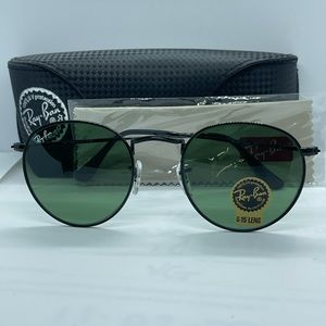 Bran New Rayban Round Rb3447 Black with Green lens
